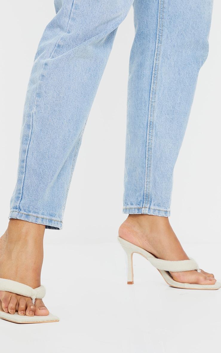 Sand Towelling Tube Strap Toe Thong Mid Heels 1