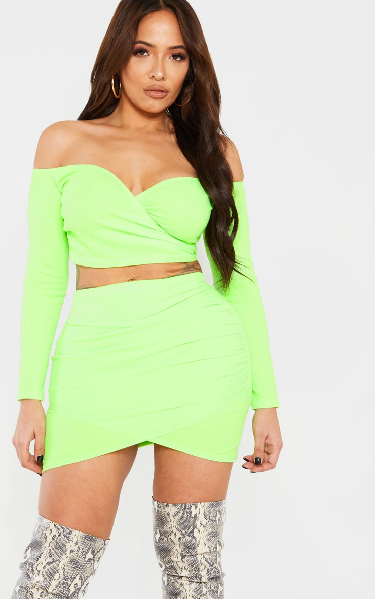 Shape Neon Lime Wrap Bardot Ribbed Crop Top 5