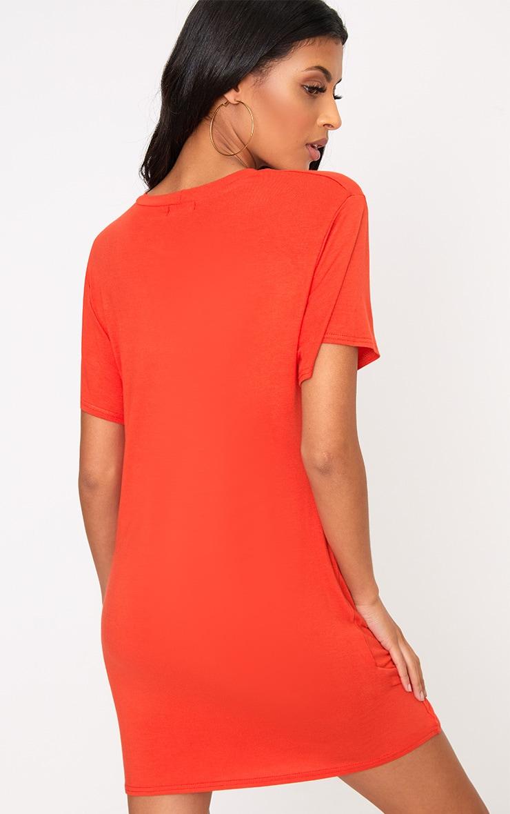 Basic Orange Short Sleeve T Shirt Dress 2