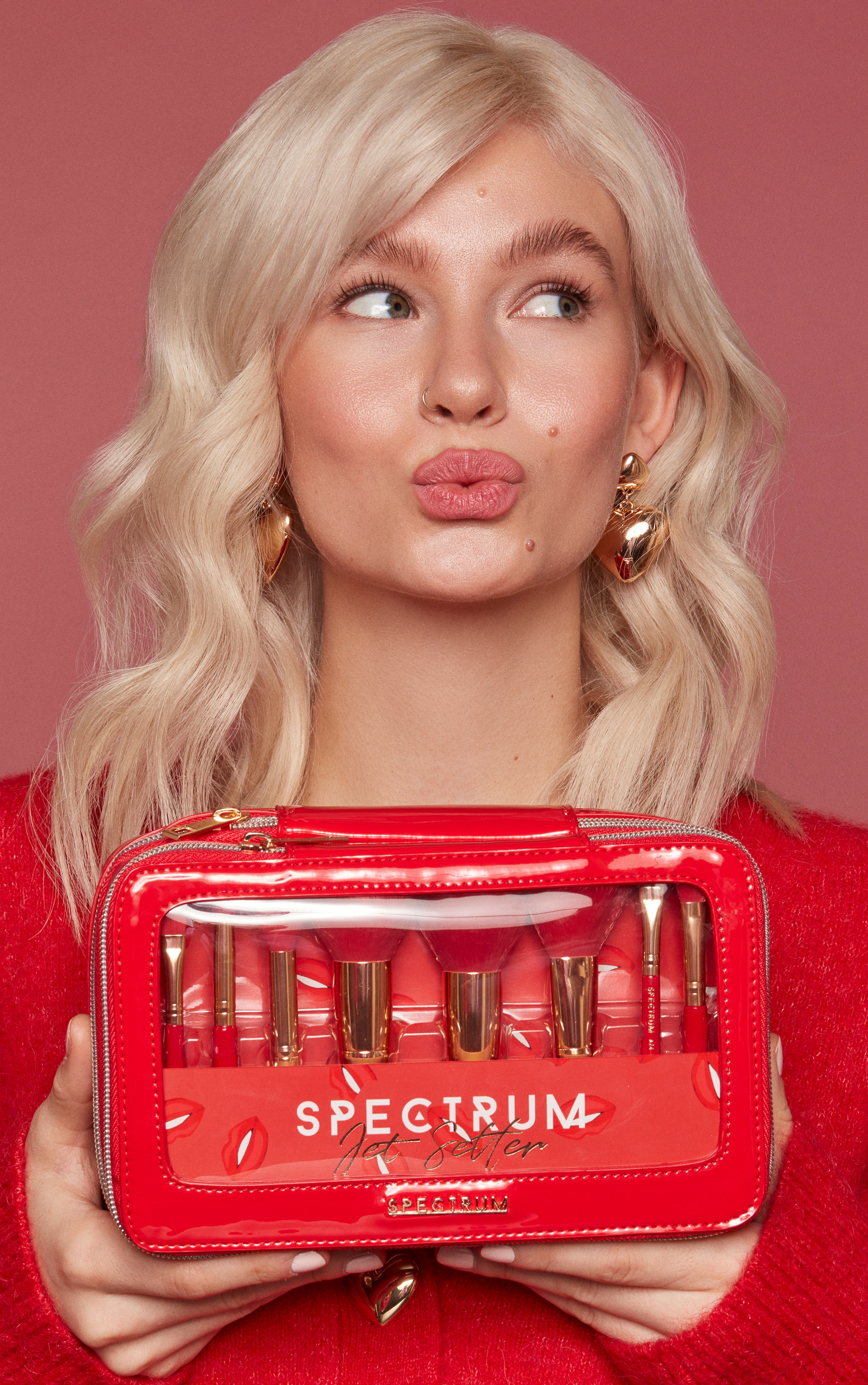 Spectrum Collections Red Jet Setter Travel Size 8 Piece Brush Set 4