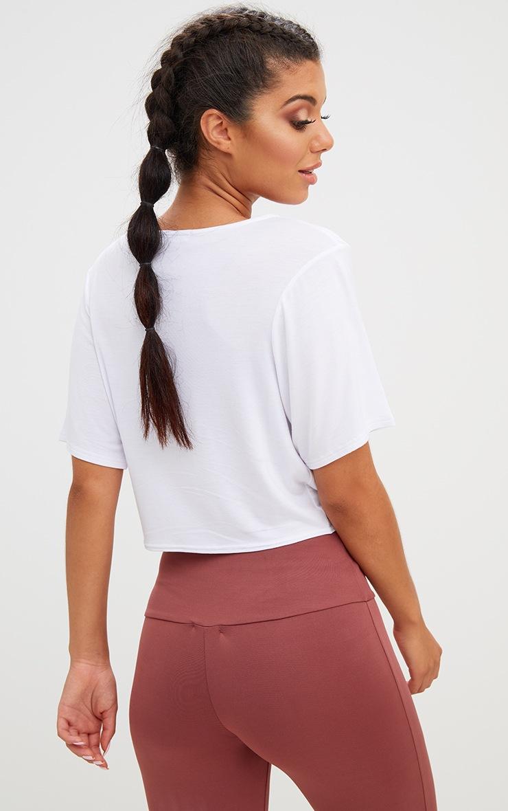 Girl Power Crop Tie Front Top White 2