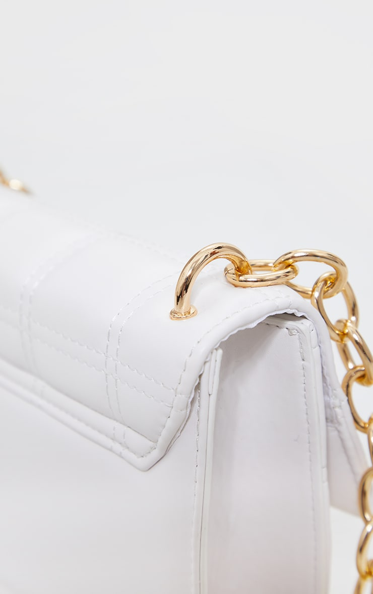 White Mini Square Quilted Chunky Gold Chain Cross Body Bag 3