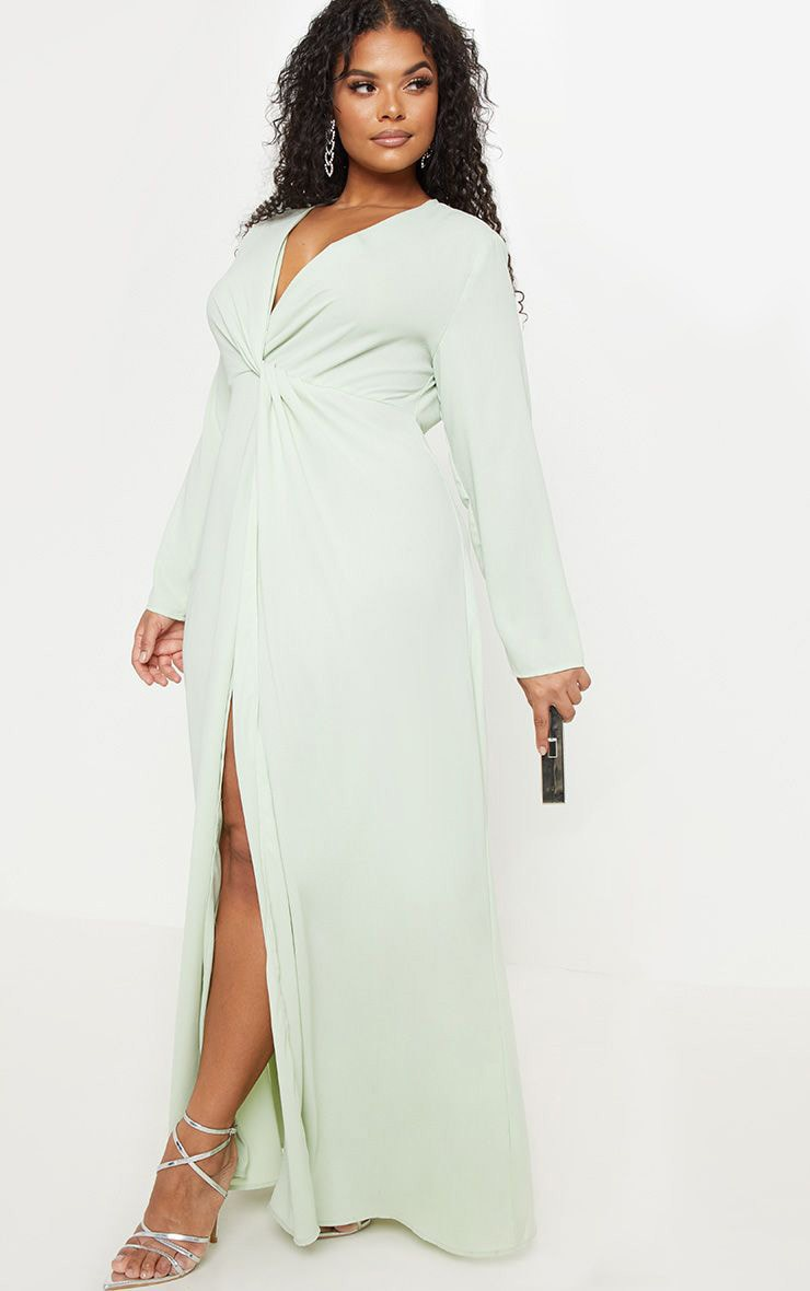 979a2182e0 Plus Sage Green Twist Front Maxi Dress image 1