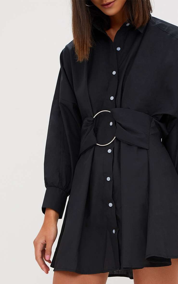 Black Ring Detail Shirt Dress 5