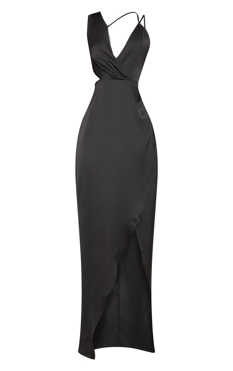 Black Asymmetric Sleeve Cut Out Split Leg Maxi Dress  3