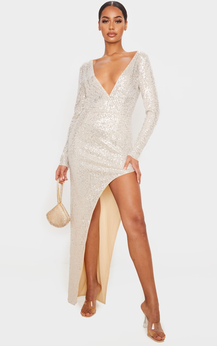 Silver Sequin Long Sleeve Plunge Maxi Dress 4