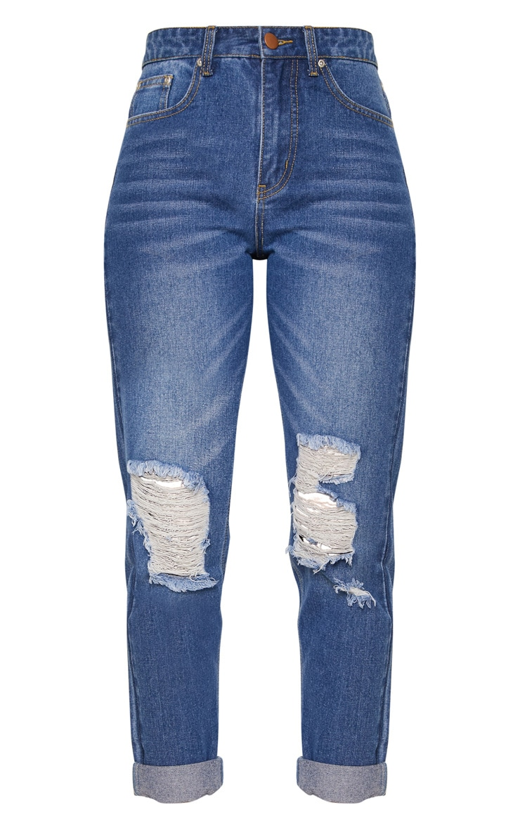 Mid Wash Distressed Knee Straight Leg Jean 3