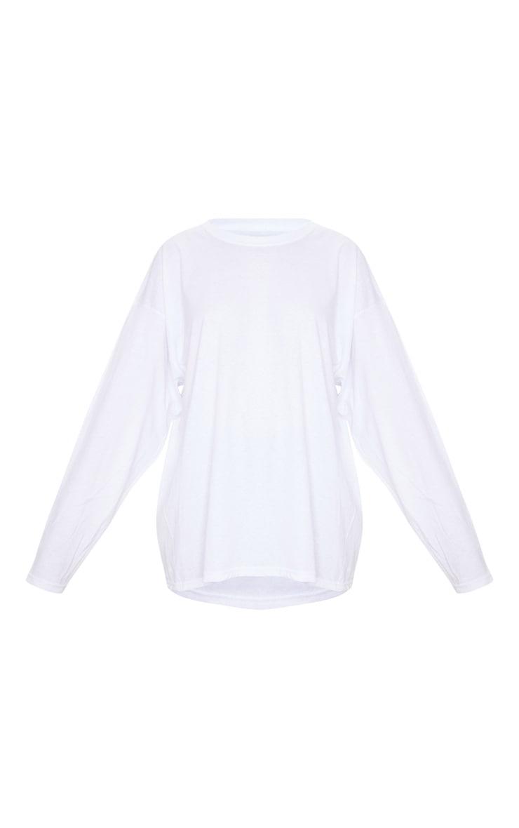 Tee-shirt oversize style boyfriend blanc à manches longues 5