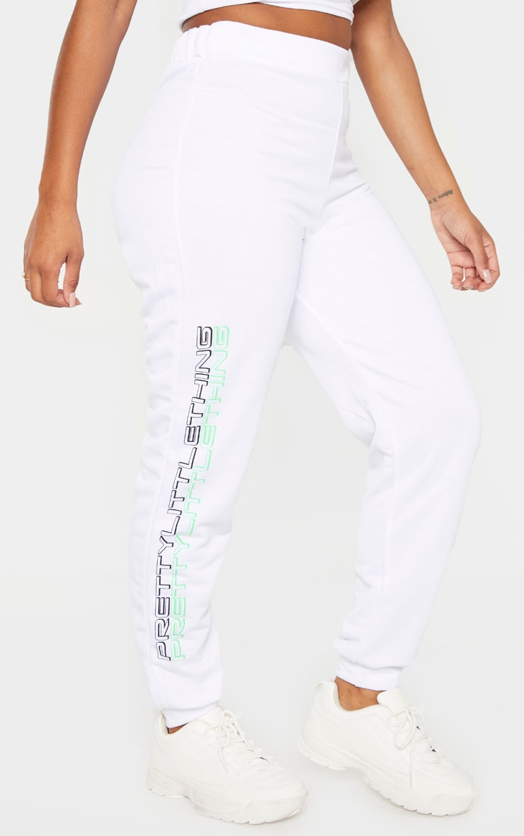 PRETTYLITTLETHING Shape White Printed Drawstring Joggers 2