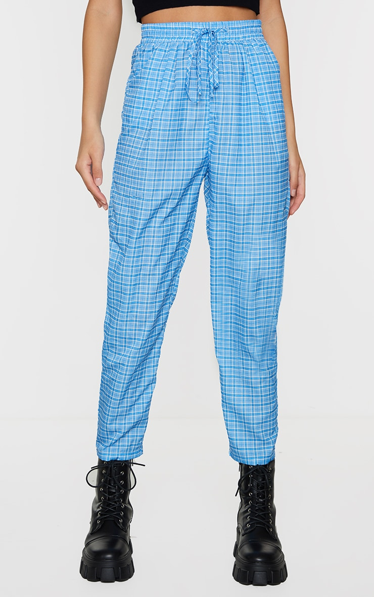 Blue Checked Casual Pants 2