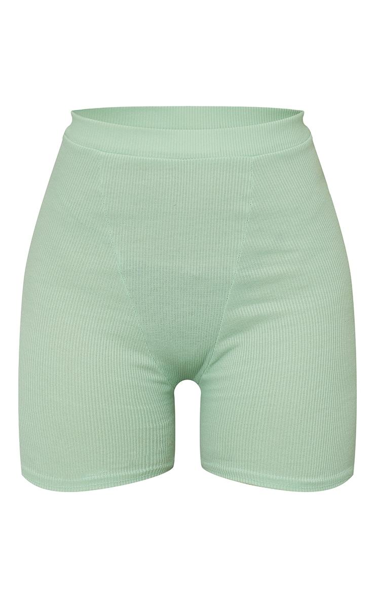 Mint Ribbed Bike Shorts 6