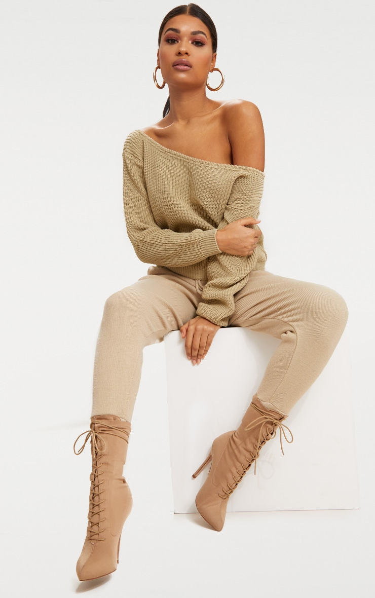Stone Off The Shoulder Crop Sweater 4