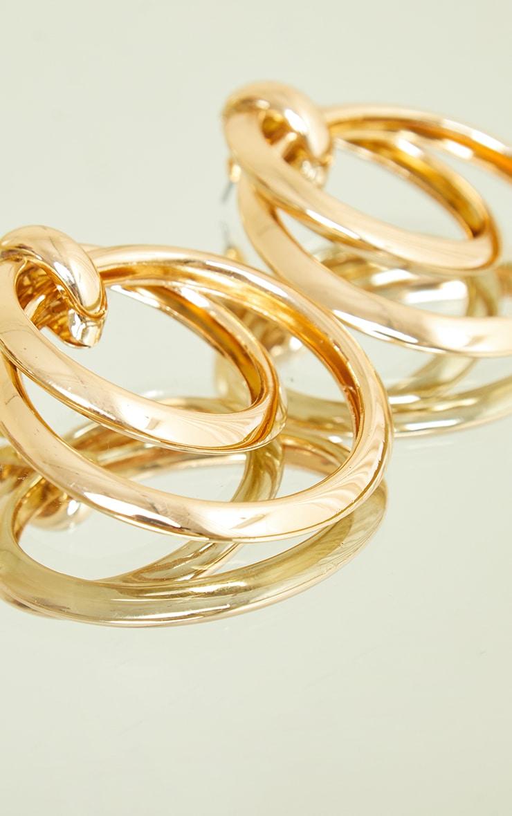 Gold Chunky Double Hoop Earrings 2