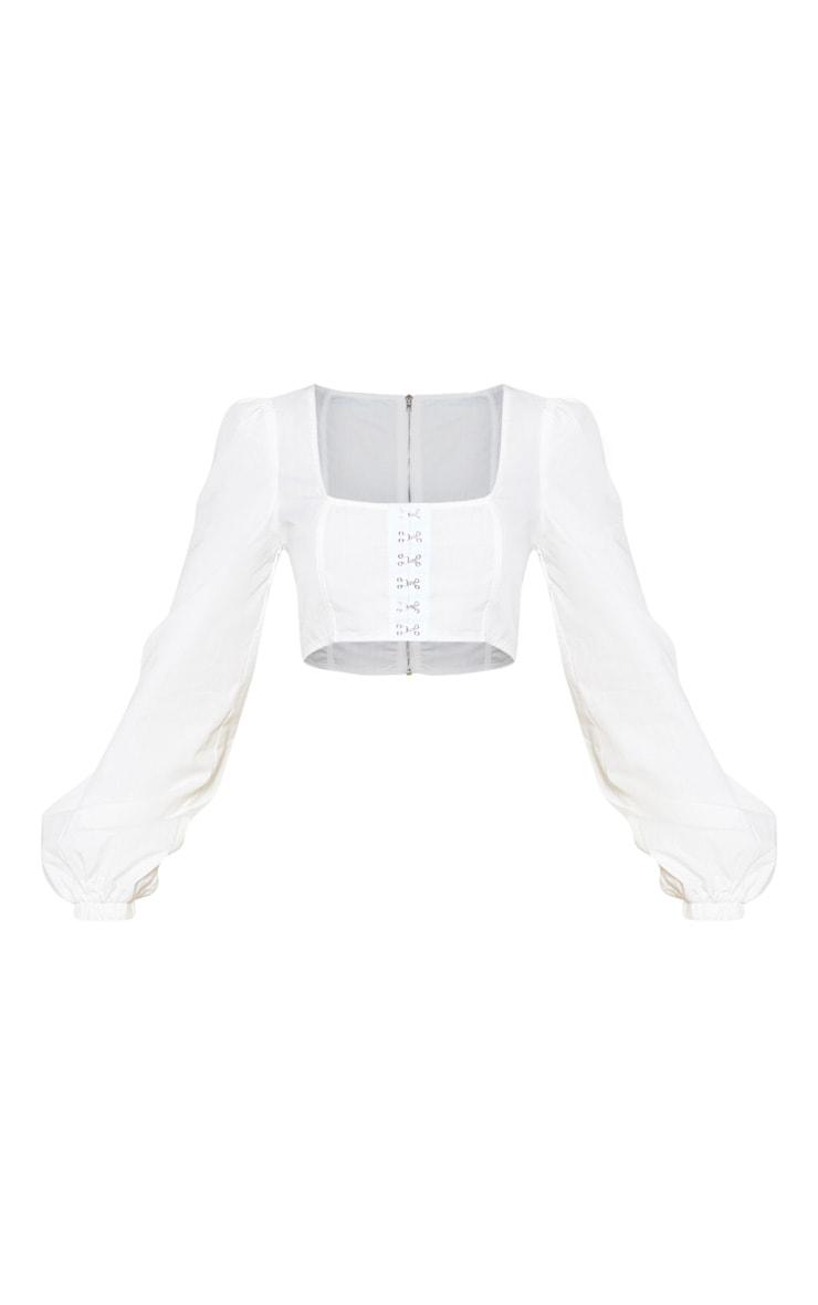 White Puff Sleeve Corset Detail Crop Top 5