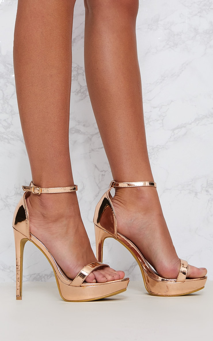 Rose Gold Platform Strap Heeled Sandal