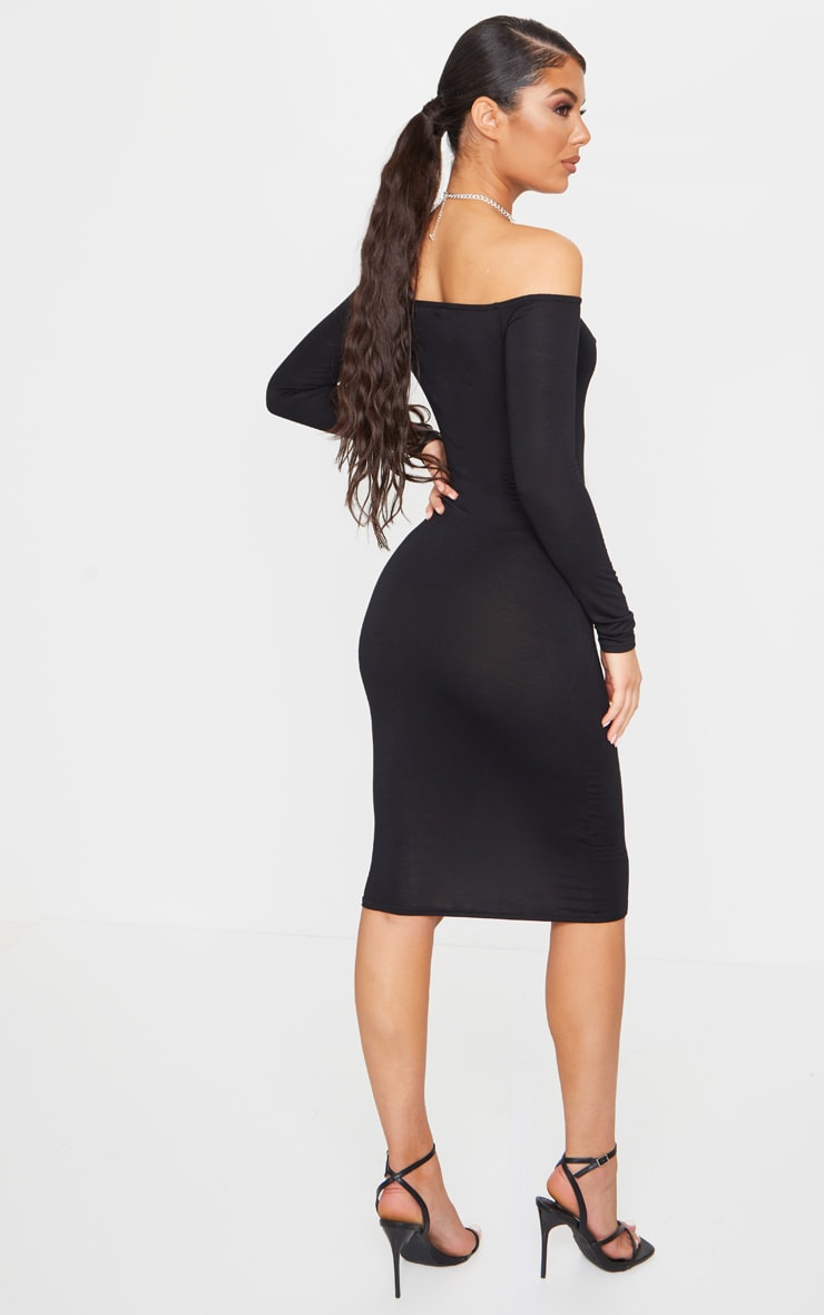 Basic Black Jersey Bardot Midi Dress 2