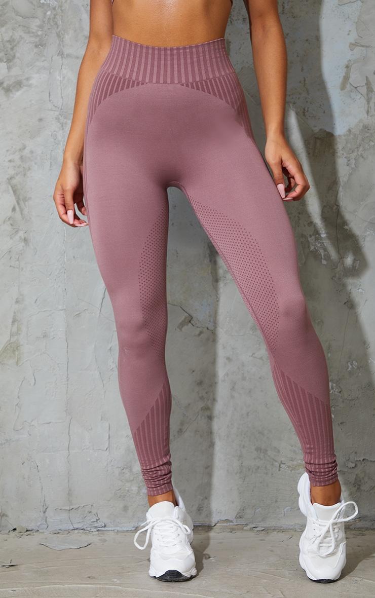 Mauve Stripe Detail Seamless Gym Leggings 2