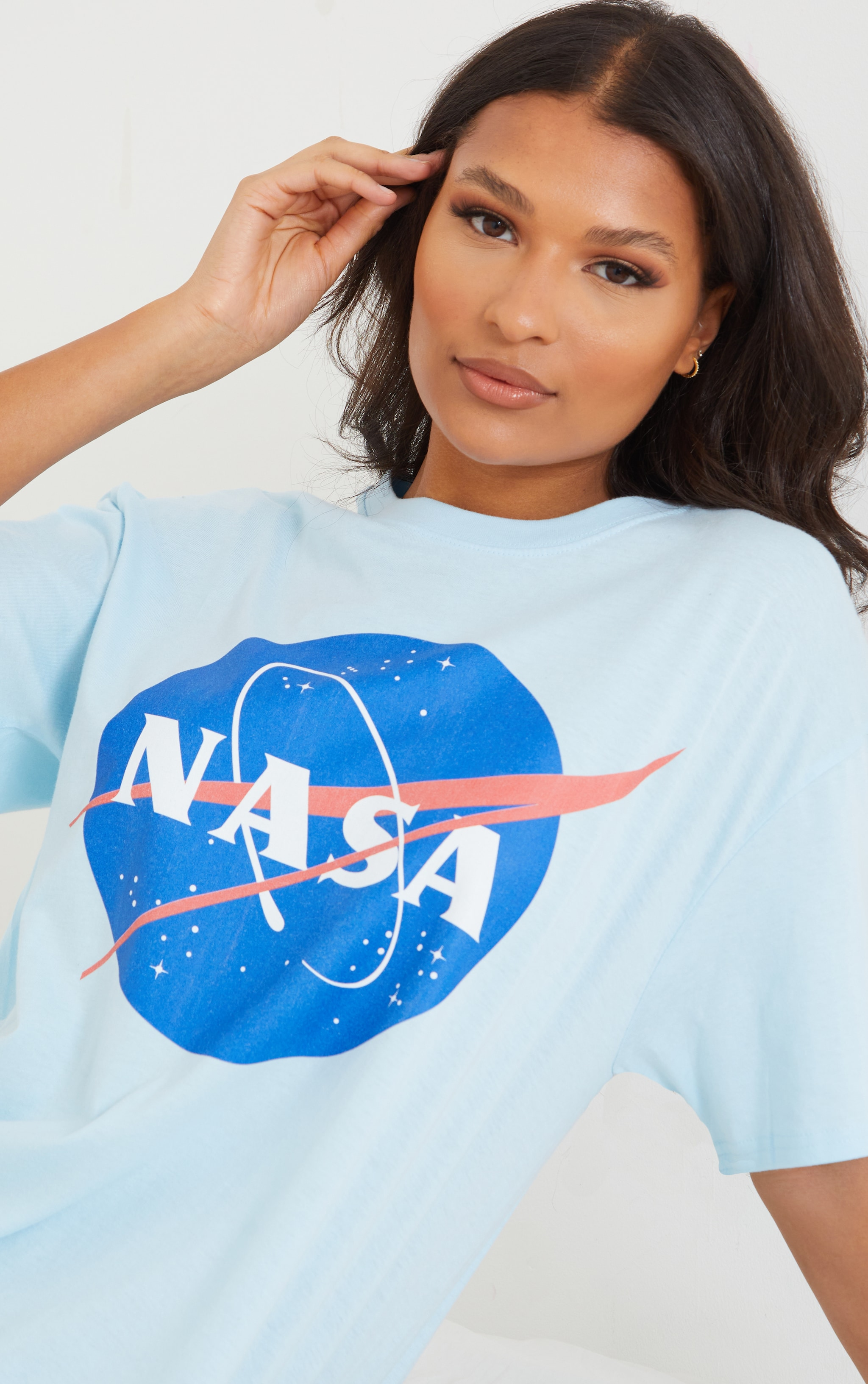 Baby Blue NASA Globe Logo Print Short Sleeve Nightie 4