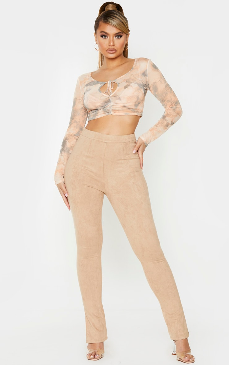 Stone Marble Print Long Sleeve Ruched Mesh Crop Top 4