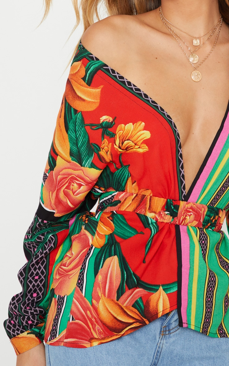 Multi Mixed Print Belted Blouse 5