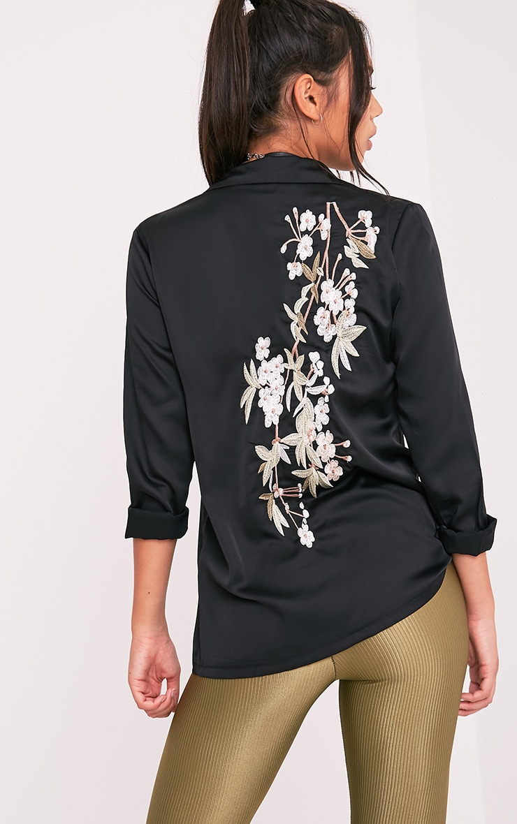 Nayee Black Embroidered Satin Shirt 3