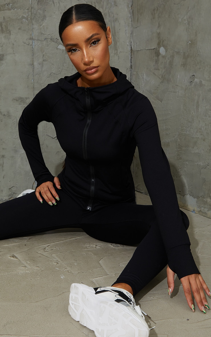 Black Brushed Luxe Zip Up Sports Jacket 1