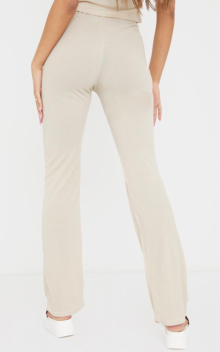 Oatmeal Ribbed Straight Leg Trousers 3