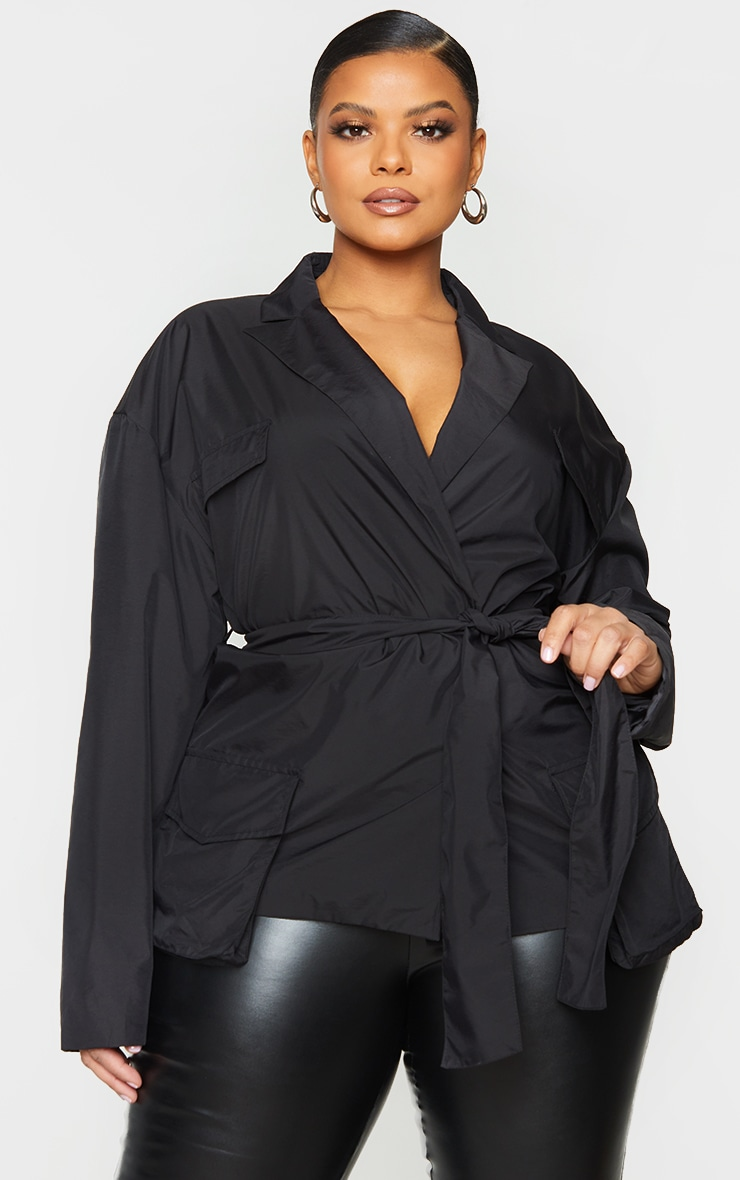 Plus Black Shell Tie Front Cropped Jacket 1