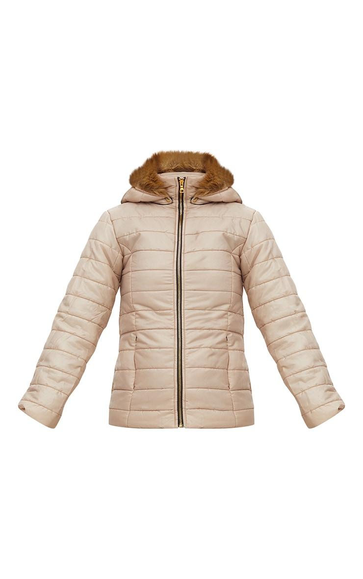 Stone Faux Fur Hooded Puffer Jacket 3