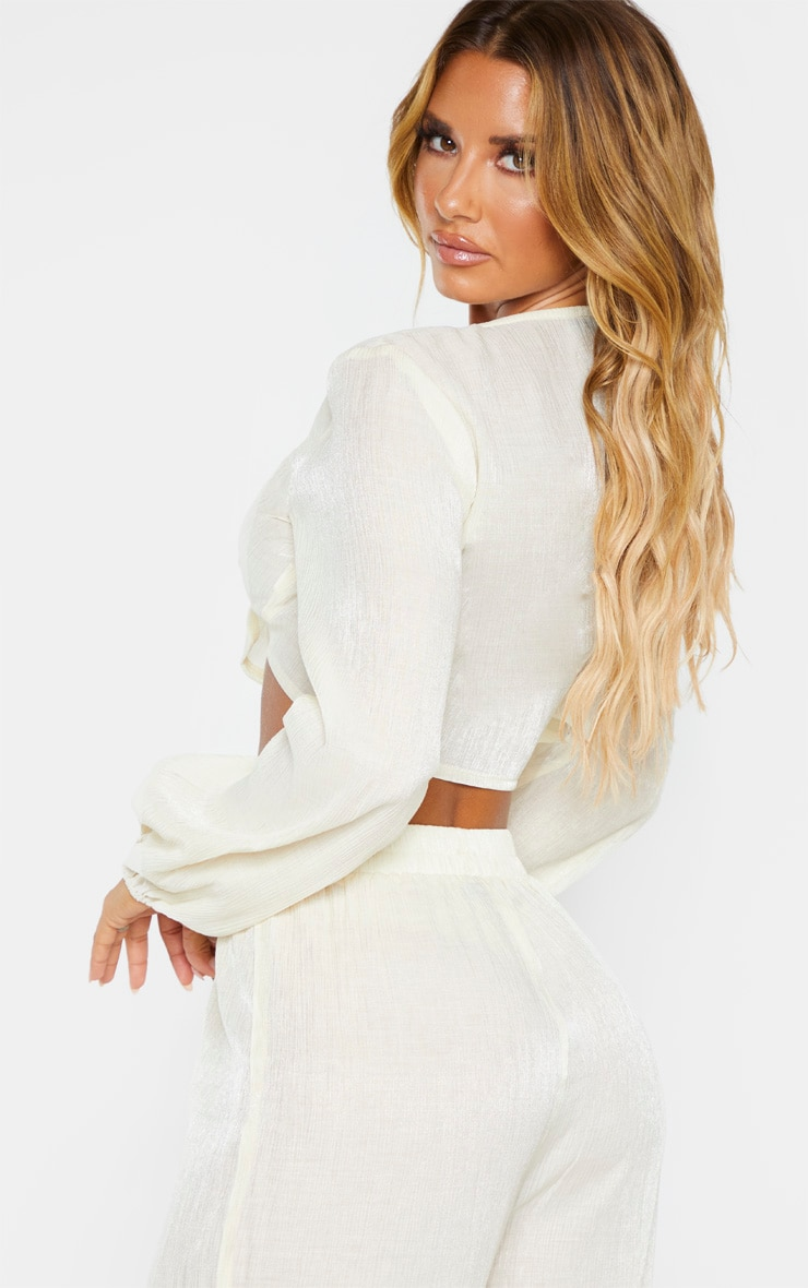 Cream Textured Tie Front Long Sleeve Crop Top 2