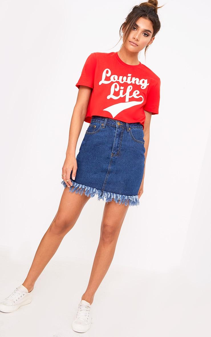 Red Loving Life Slogan Crop T Shirt 4