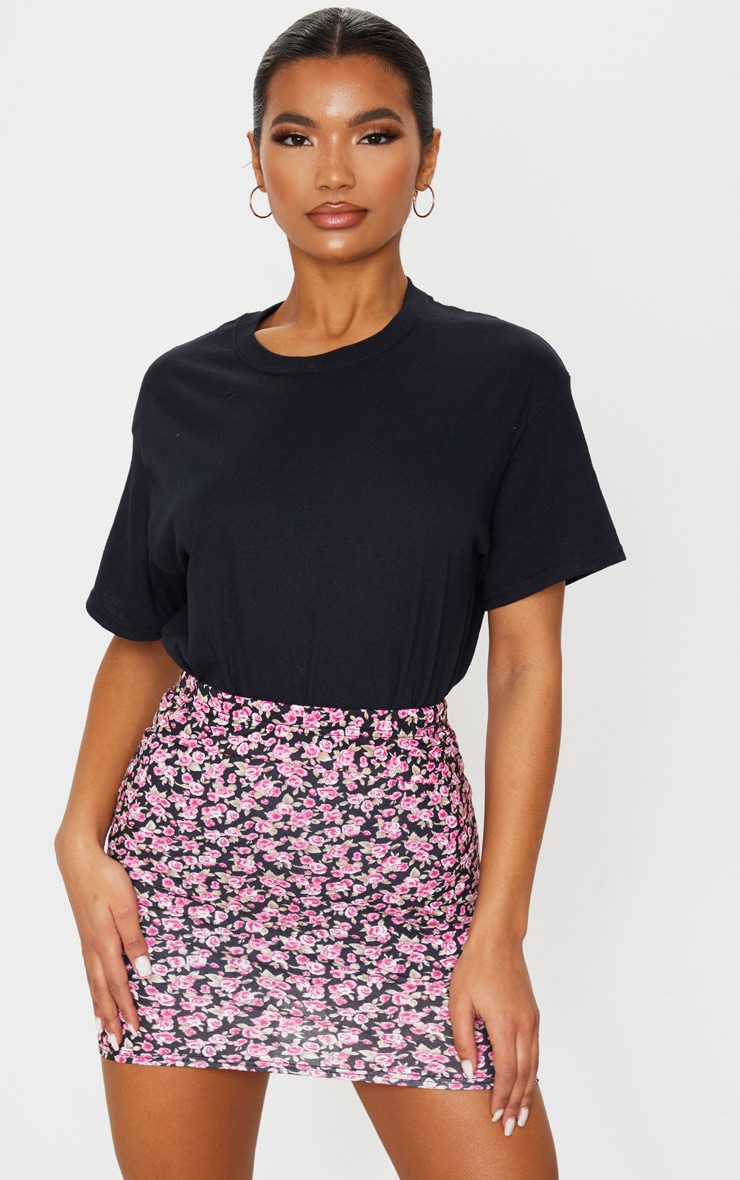 Pink Ditsy Floral Jersey Mini Skirt 5