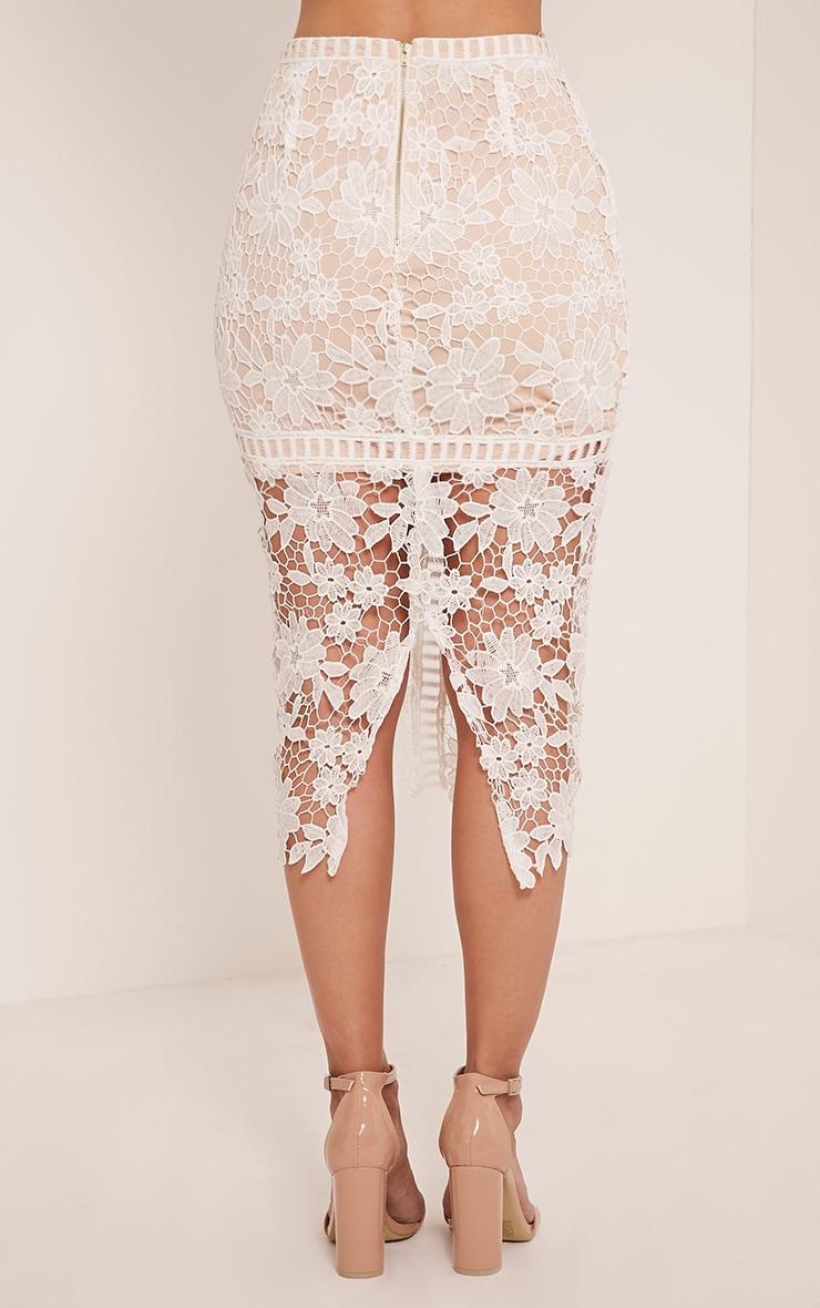Janae White Crochet Lace Midi Skirt 5