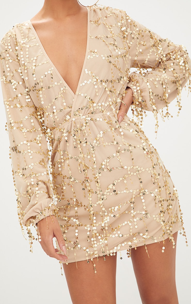 0ef85579745 Gold Plunge Sequin Long Sleeve Bodycon Dress image 5
