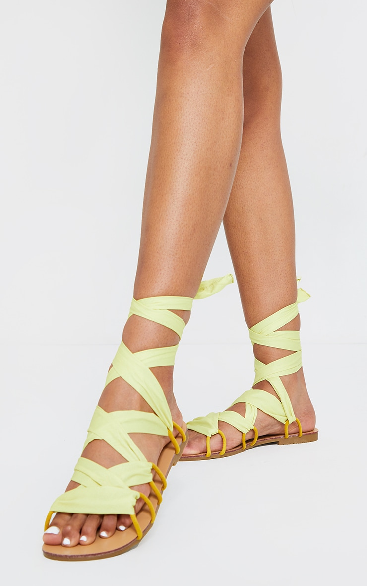 Lime Ghillie Lace Up Sandals 2