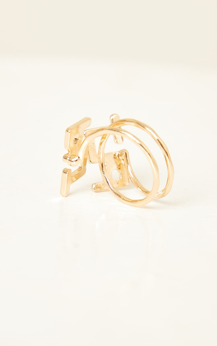 PRETTYLITTLETHING Gold Cut Out Ring 3