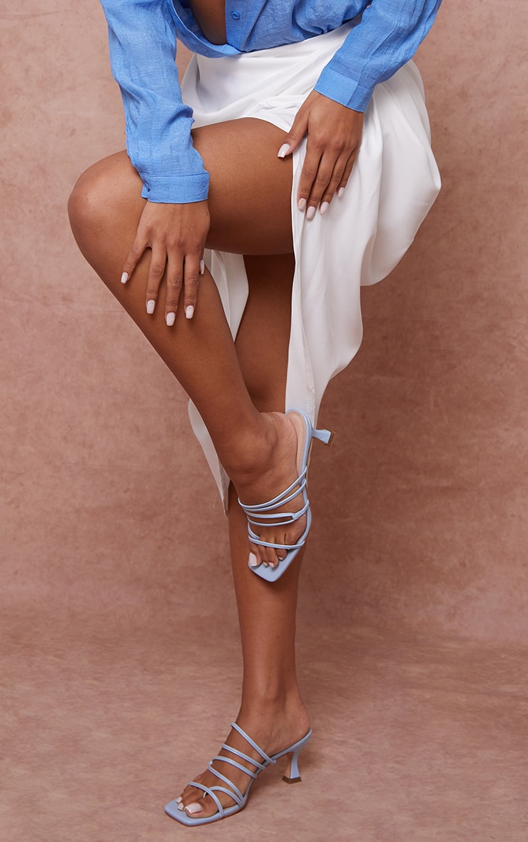 Light Blue Low Flare Heel Strappy Mules 1