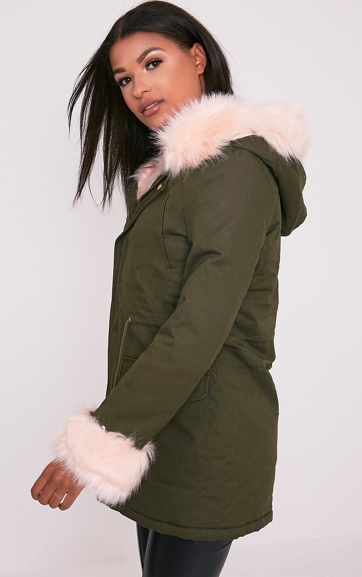 Neena Baby Pink Faux Fur Lined Parka 4