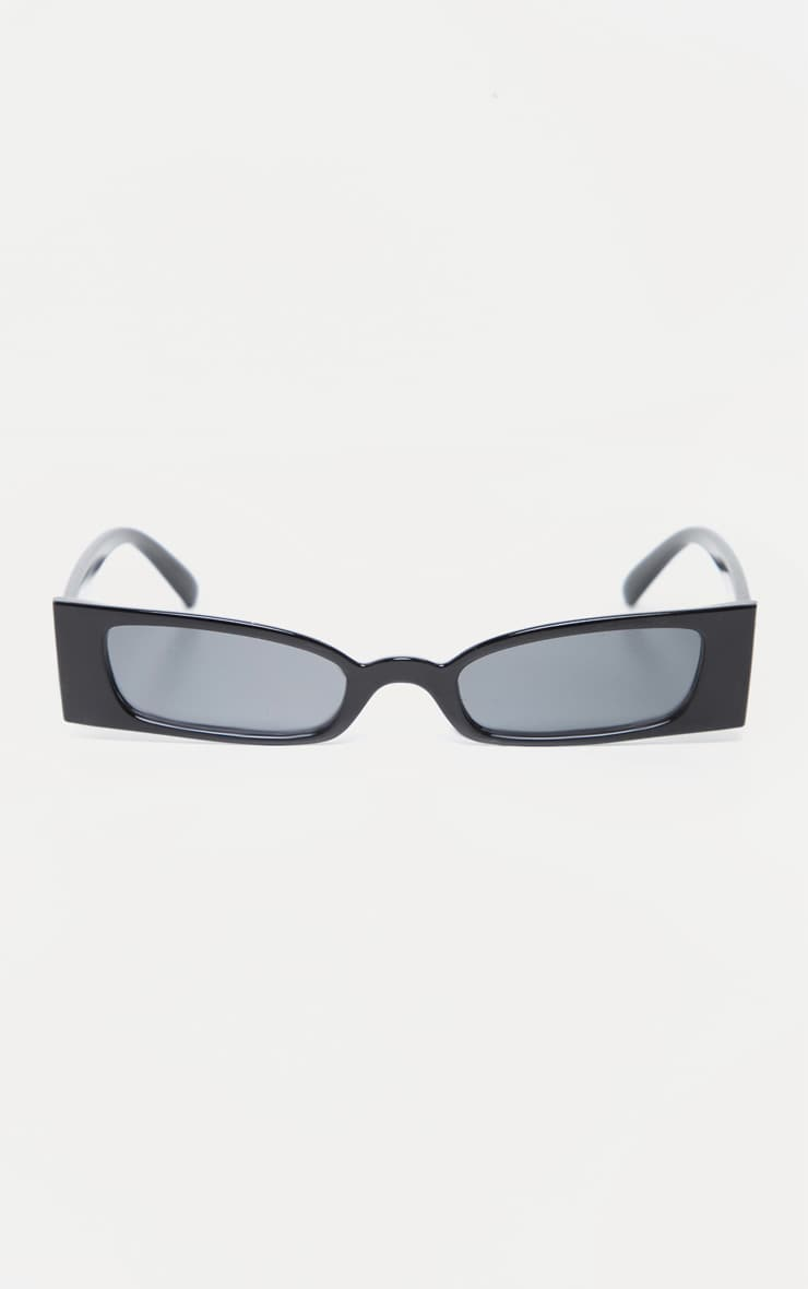 Black Squashed Flat Rectangle Sunglasses 2