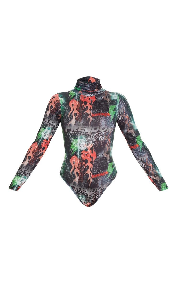 PRETTYLITTLETHING Multi Print Roll Neck Long Sleeve Bodysuit 3