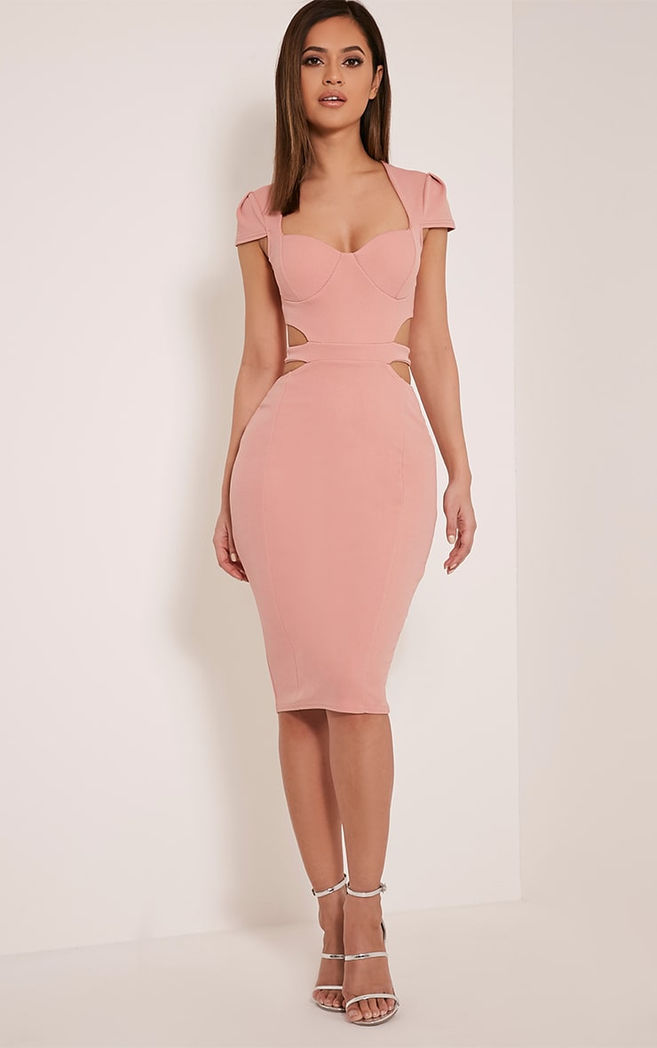 Marrie Dusty Pink Capped Sleeve Crepe Panel Midi Dress 1