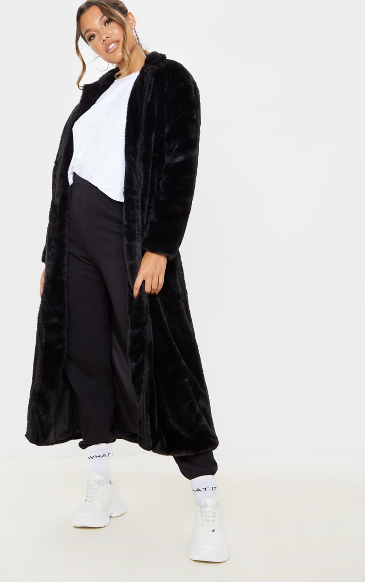 Black Longline Faux Fur Coat 4