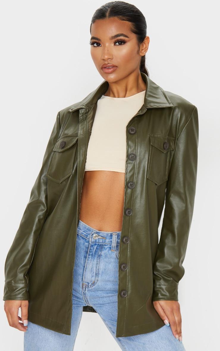 Khaki Faux Leather Longline Shirt Jacket 1