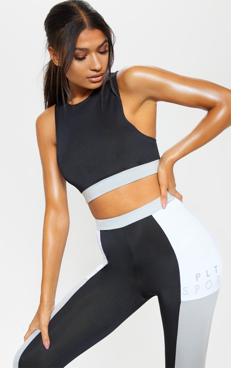 PRETTYLITTLETHING Black Double Strap Back Crop Top 2
