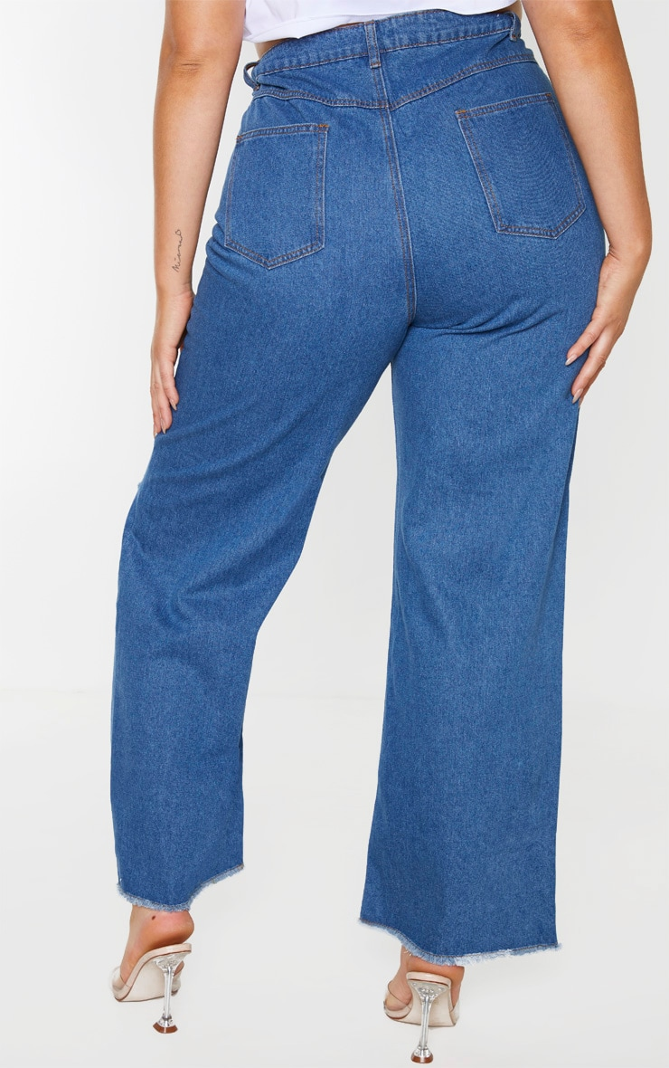 Plus Mid Wash Wide Leg Knee Rip Jean 2