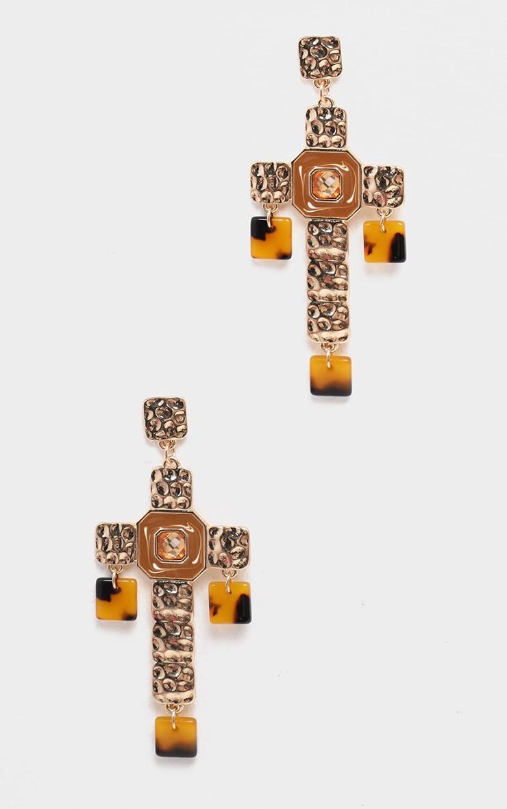 Boucles d'oreilles dorées à pendants croix & détails écaille de tortue 1