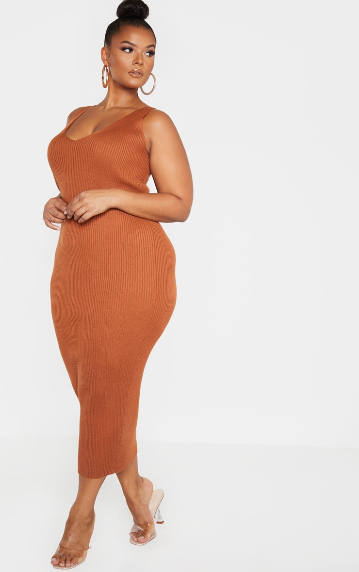 Plus Rust Knitted V Neck Midaxi Dress  4
