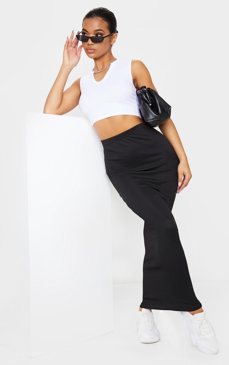 Black Rib Bodycon Midaxi Skirt 1