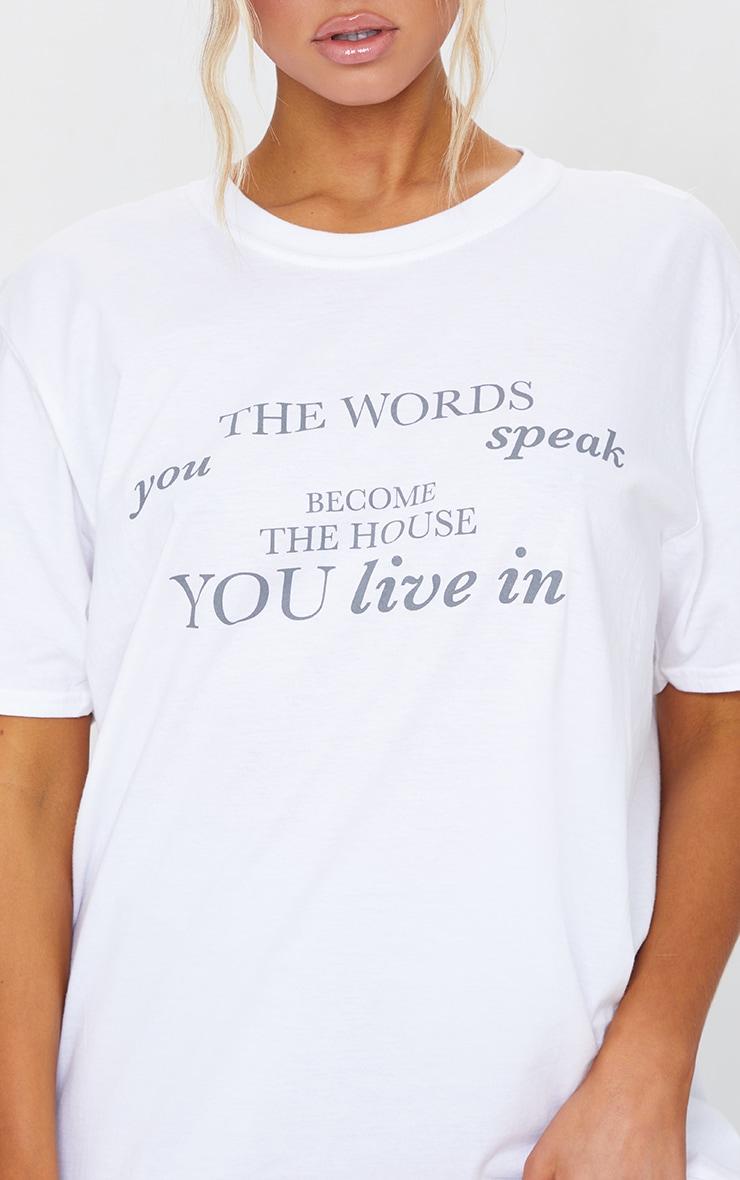 White Words You Speak Printed T Shirt 4