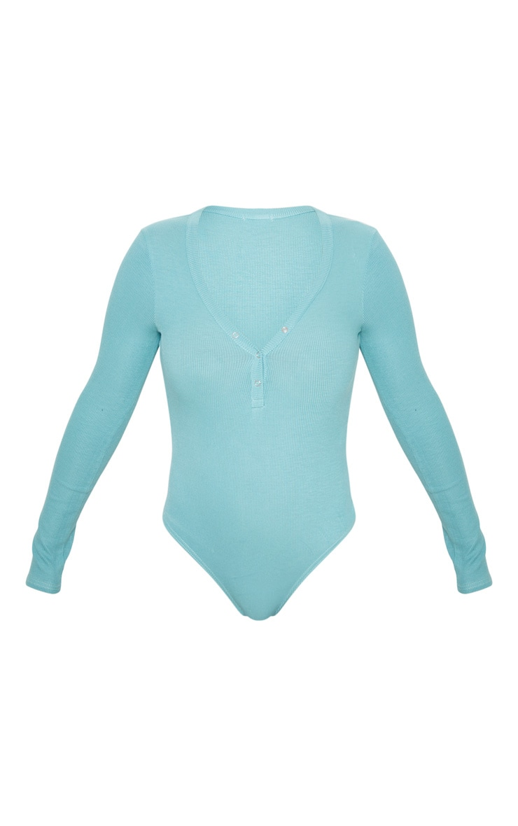 Dusty Turquoise Long Sleeve Popper Detail Thong Bodysuit 3